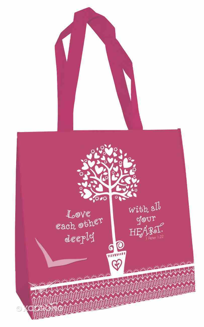 Tote Bag: Love Each Other... (Raspberry) Soft Goods