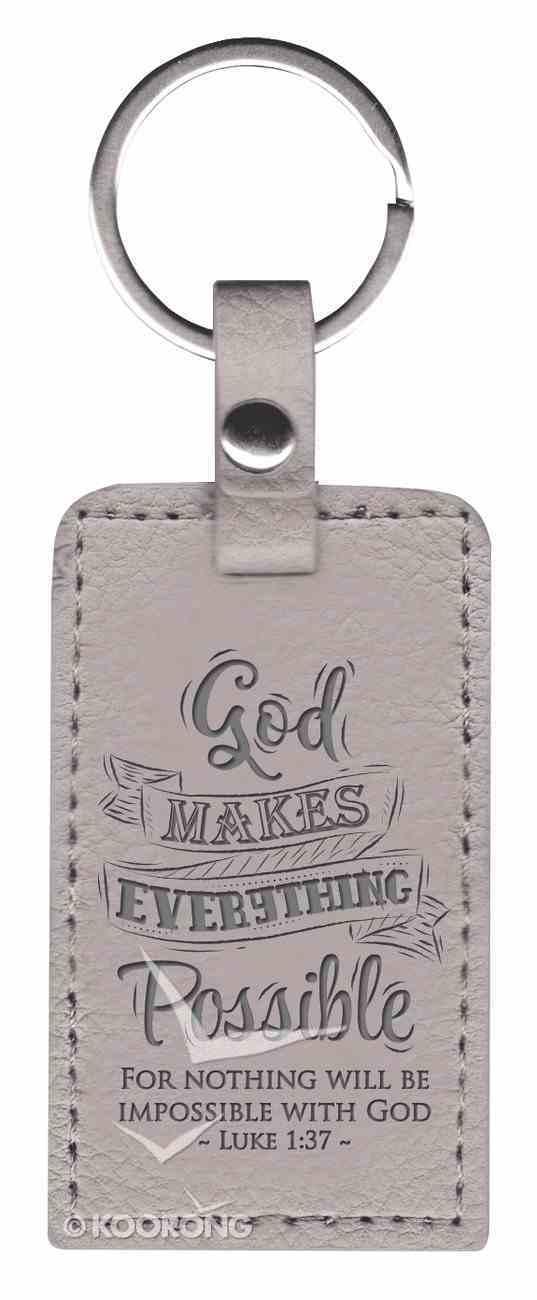 Lux Keyring: God Makes Everything Possible, Luke 1:37, Grey Jewellery