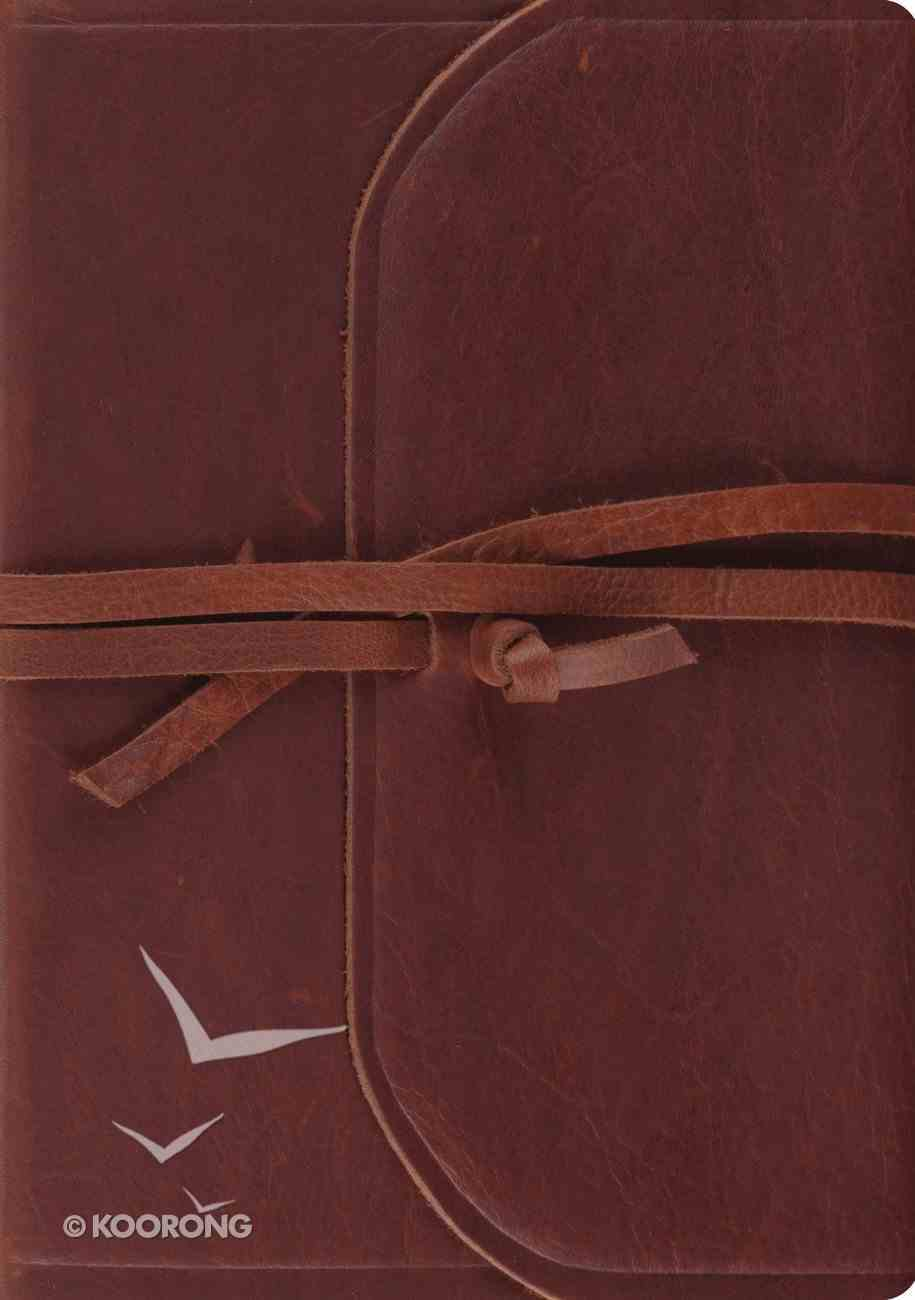 ESV Journaling Bible Interleaved Edition Brown Flap With Strap (Black Letter Edition) Genuine Leather