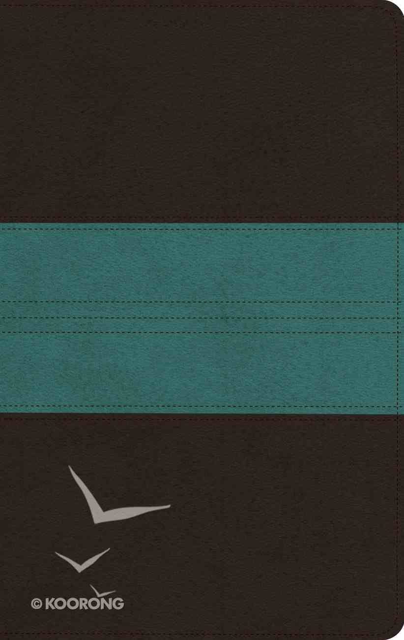 ESV Large Print Personal Size Bible Dark Brown/Teal Trail Design Red Letter Edition Imitation Leather