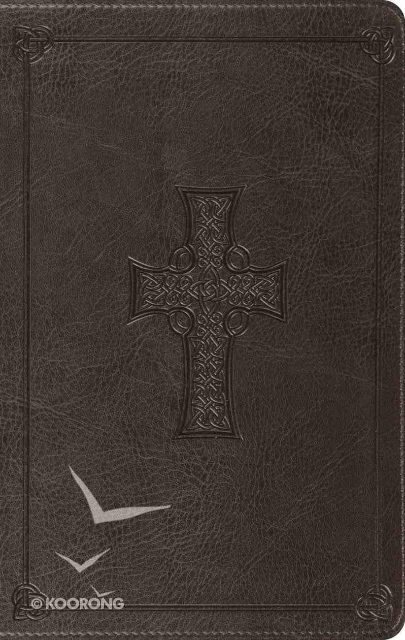 ESV Large Print Thinline Bible Charcoal Celtic Cross Design (Black Letter Edition) Imitation Leather