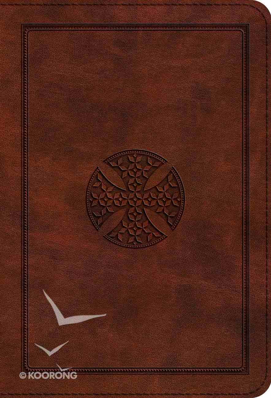ESV Large Print Compact Bible Brown Mosaic Cross Design (Red Letter Edition) Imitation Leather