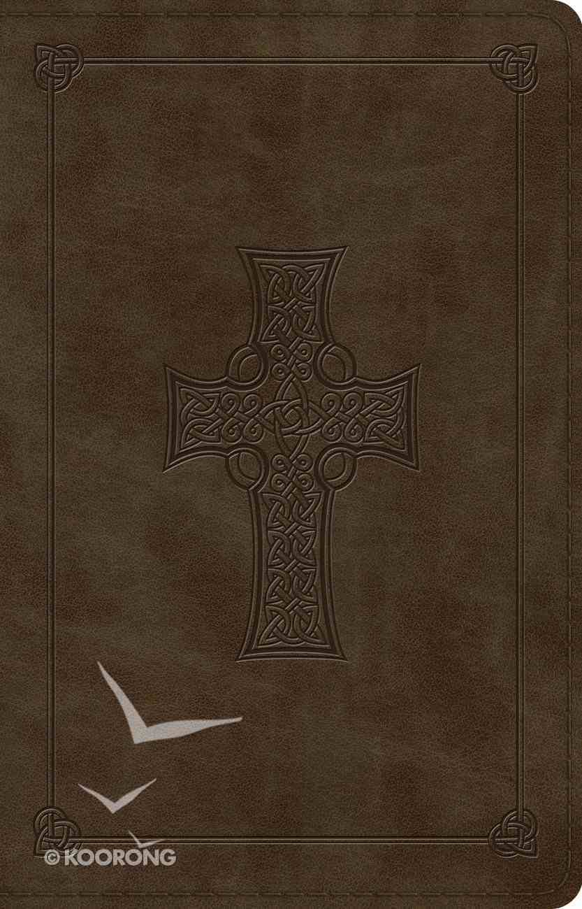 ESV Large Print Thinline Reference Bible Olive Celtic Cross Design (Black Letter Edition) Imitation Leather