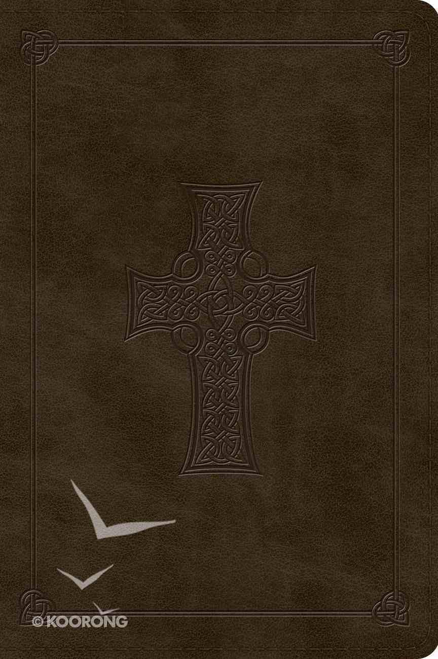 ESV Large Print Bible Trutone Olive Celtic Cross Design (Black Letter Edition) Imitation Leather