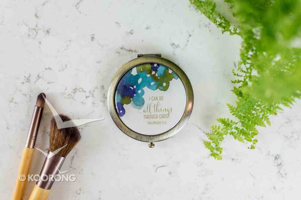 Cosmetic Mirror: Blue Flowers, I Can Do All Things Through Christ (Phil 4:13) ((In)courage Gift Product Series) Homeware