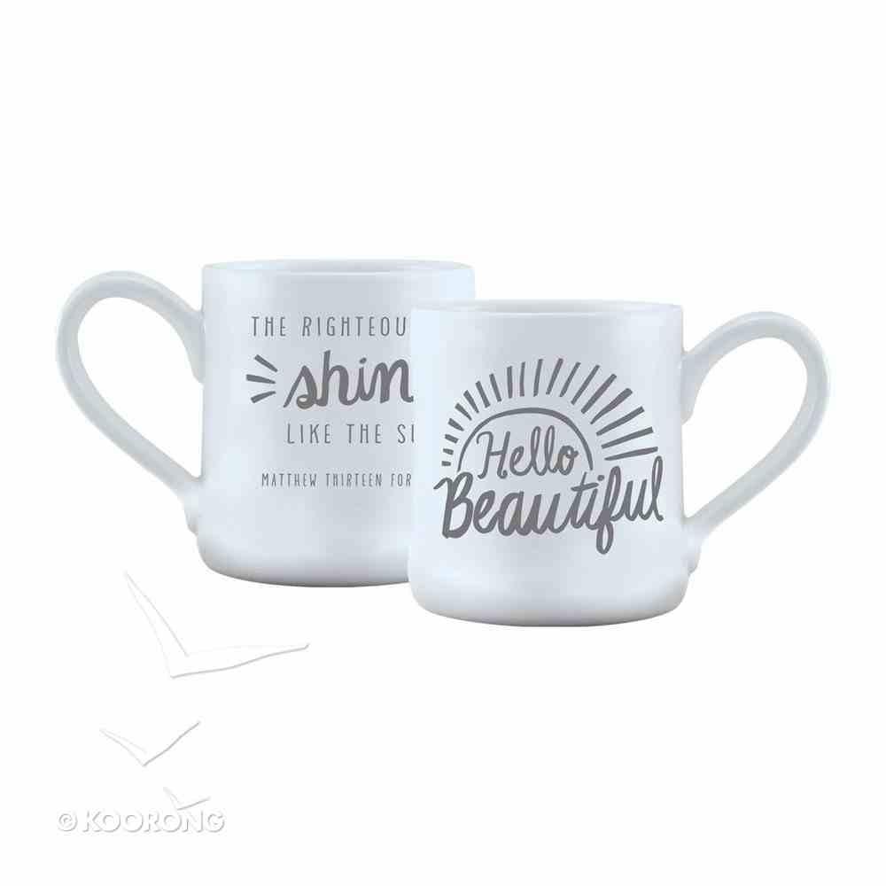 Hand Thrown Ceramic Mug: Hello Beautiful, Matthew 13:43 Homeware