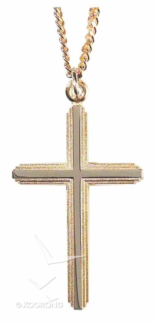 Necklace: Silver and Gold Plated Cross on 60Cm Gold Plated Chain Jewellery