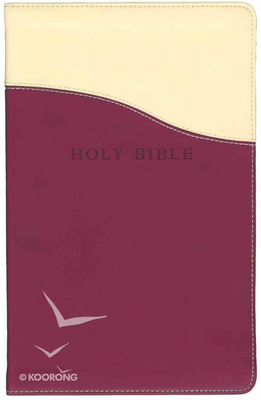 KJV Personal Size Giant Print Reference Bible Cream/ Raspberry Red Letter Edition Imitation Leather