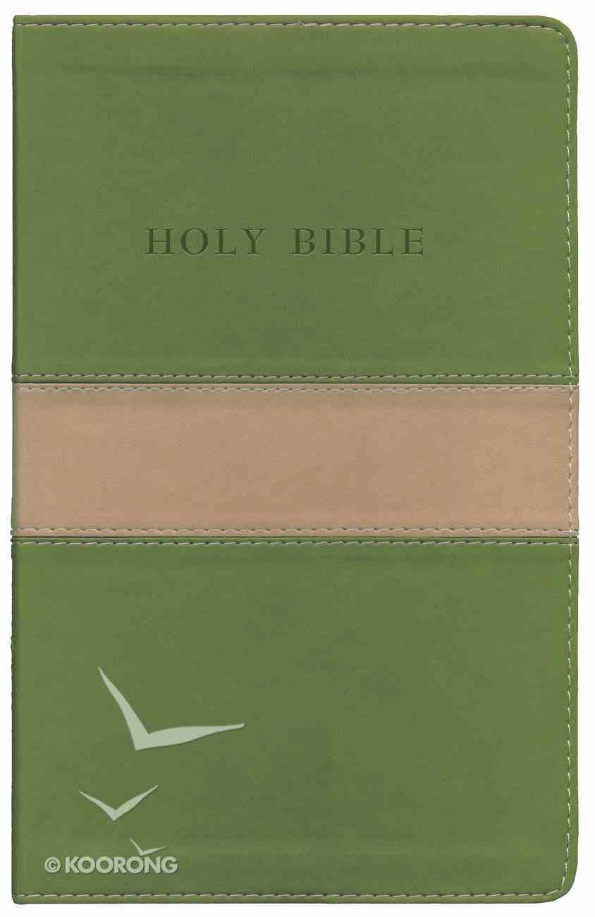KJV Personal Size Giant Print Reference Bible Tan/ Olive Red Letter Edition Imitation Leather