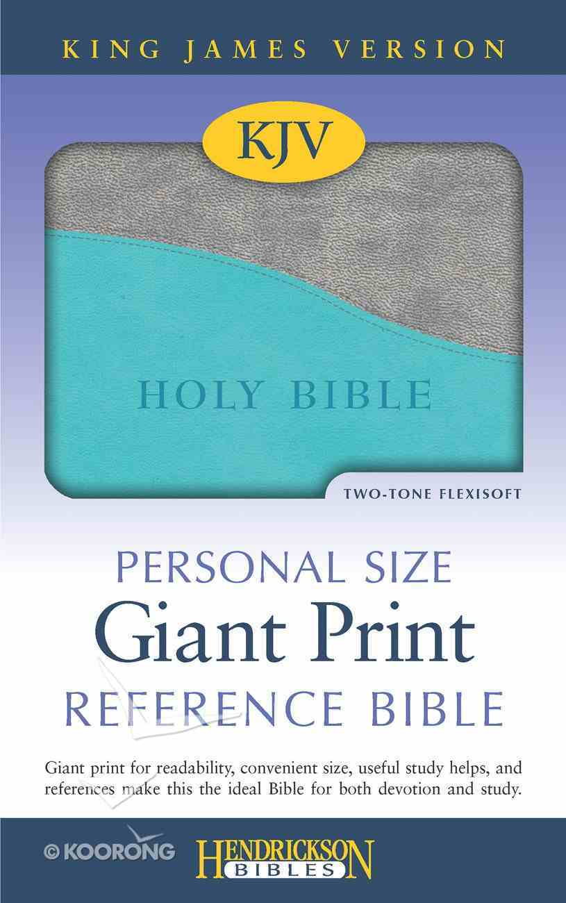 KJV Personal Size Giant Print Reference Bible Turquoise/ Gray Red Letter Edition Imitation Leather