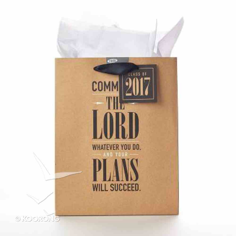 Gift Bag Medium: Graduation, Commit to the Lord....Prov 16:3 (Brown/black) Stationery