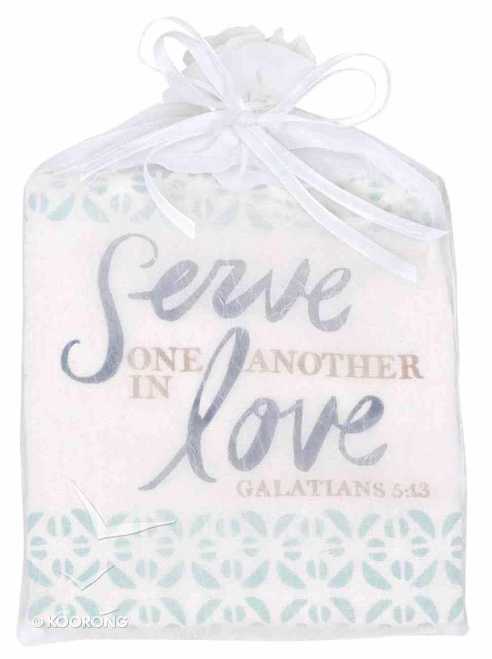 Tea Towel: Serve One Another, Cream/Mint Green (Gal 5:13) Homeware