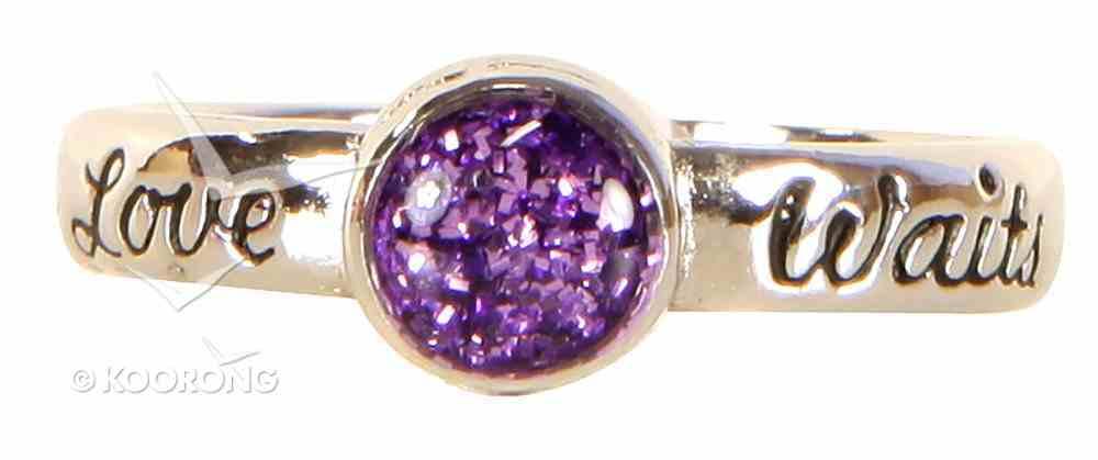 Ring: Love Waits Ladies Size 09, Purple Glittery Epoxy Center (100% Lead-free Pewter) Jewellery