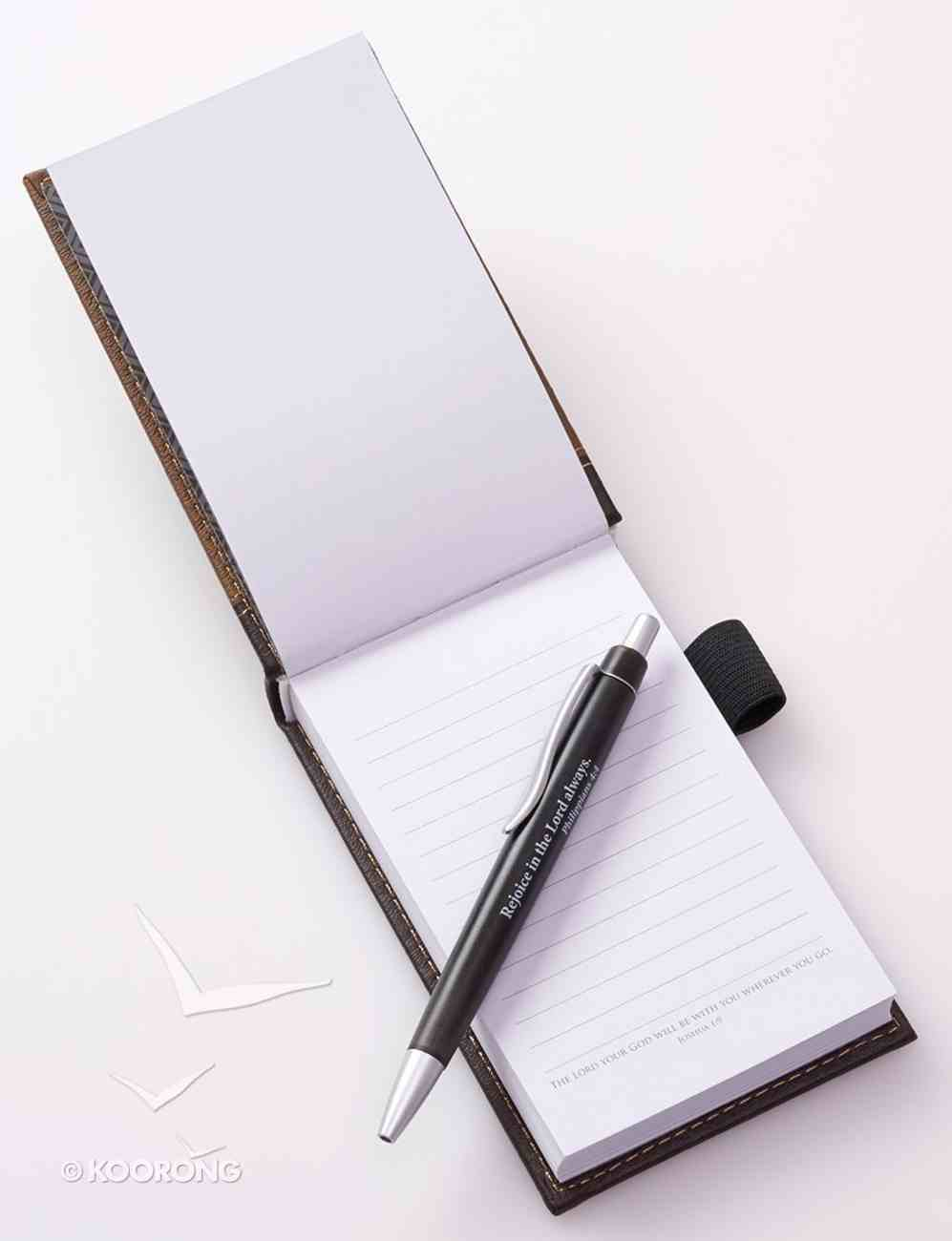Pocket Notepad With Pen: Father's Day, Strong & Courageous (Brown/dark Brown) Imitation Leather