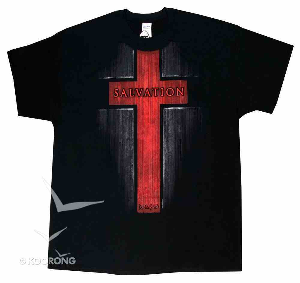 T-Shirt: Salvation, Large Black/Red Cross (Acts 4:12) Soft Goods