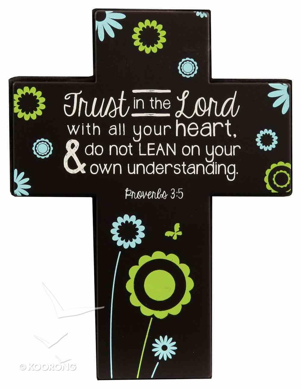 Joy Blossoms Small Cross: Trust Black/Blue/Yellow/White (Proverbs 3:5) Homeware