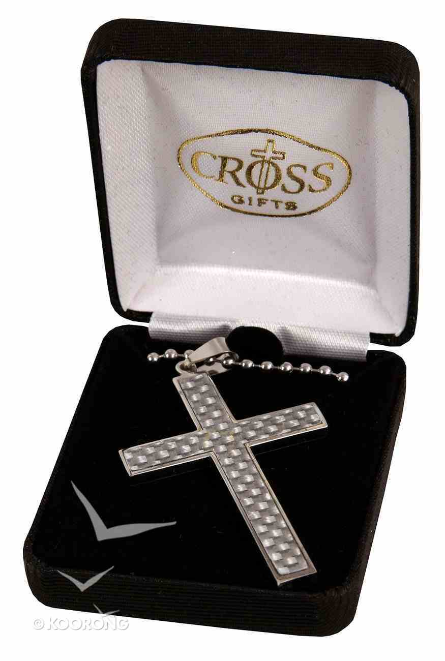 Necklace: Stainless Box Cross With Carbon Fibercenter on 60Cm Steel Chain Jewellery