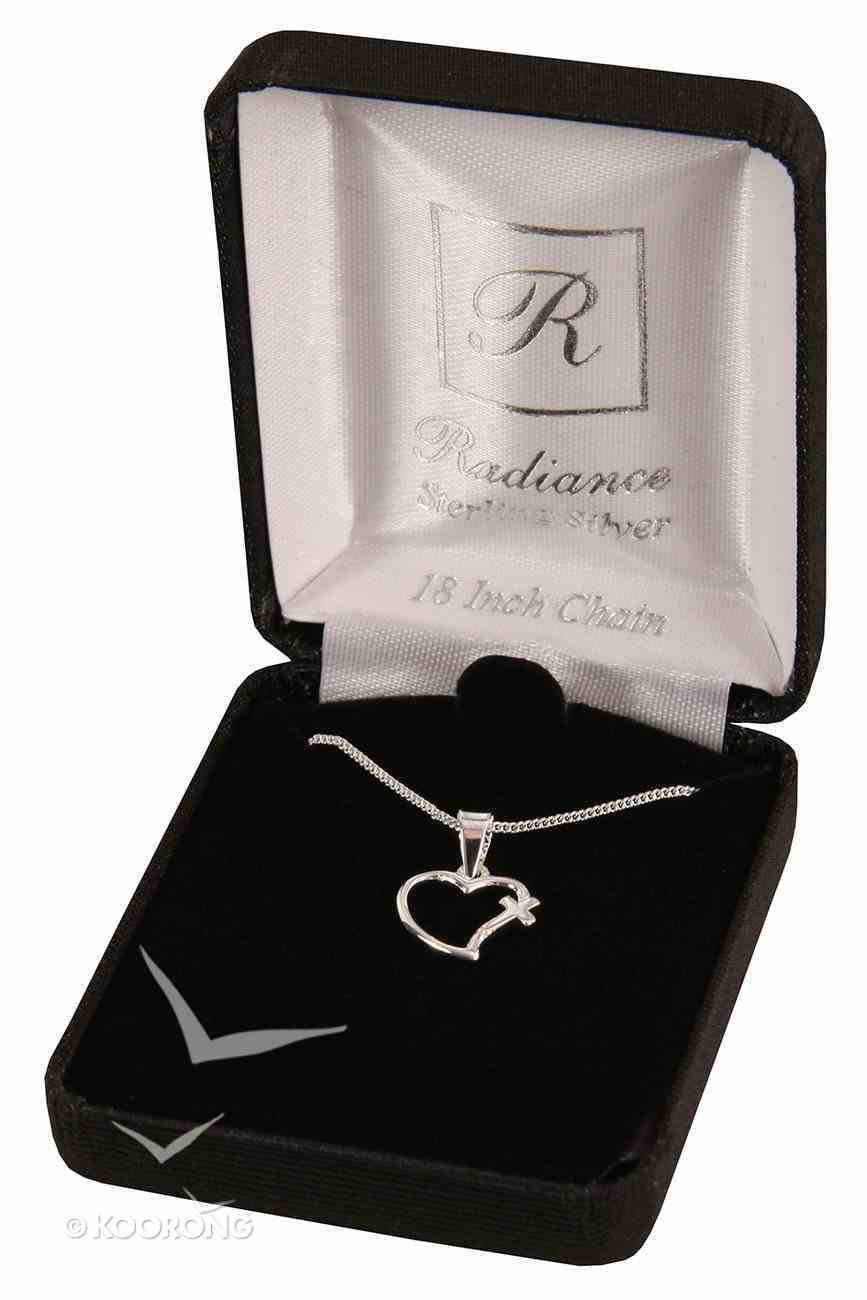 Necklace: Sterling Silver Open Heart With Cross on 45Cm Sterling Silver Chain Jewellery