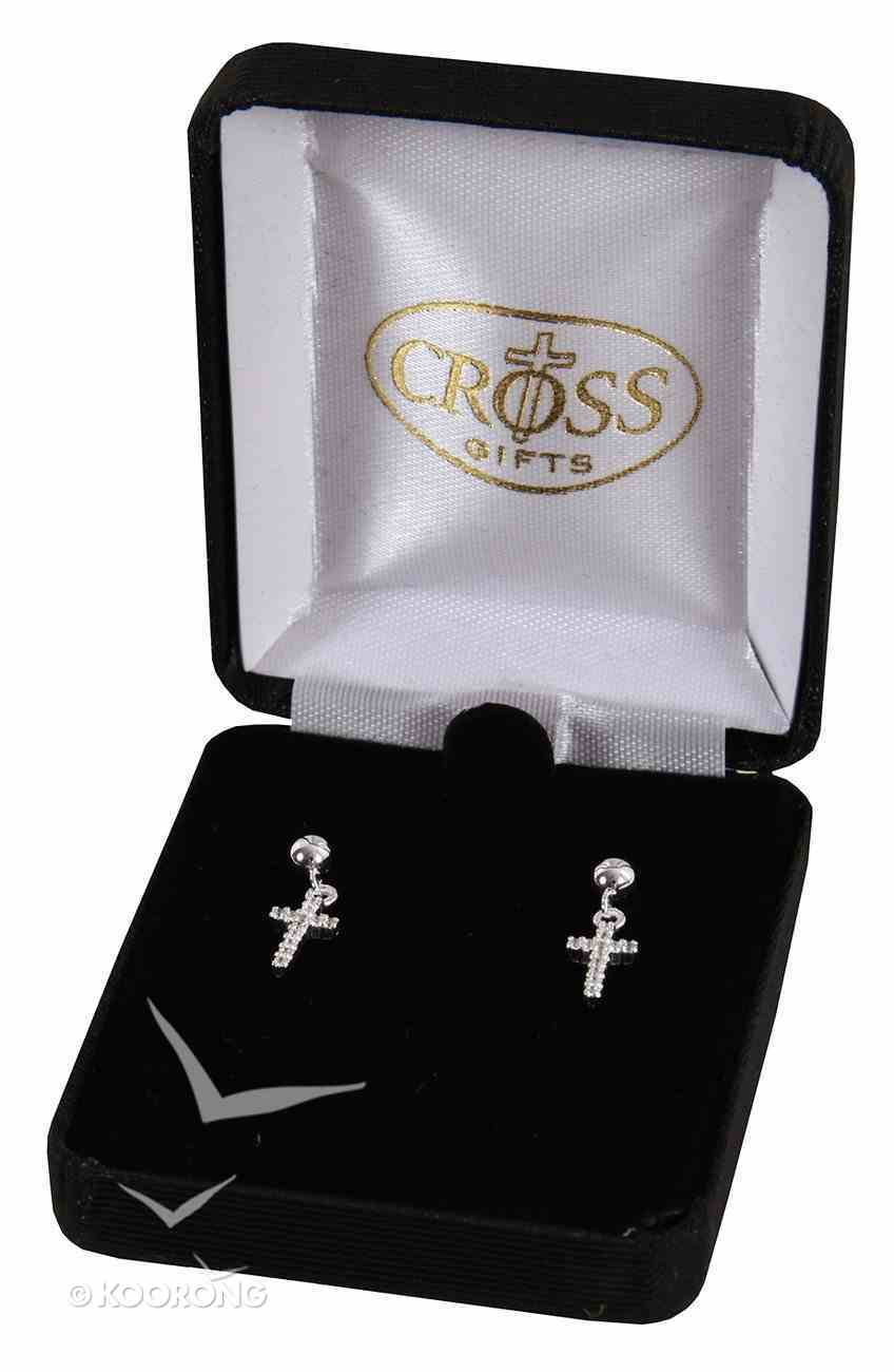 Earrings: Sterling Silver Cubic Zirconia Ribbon Cross Earrings Jewellery