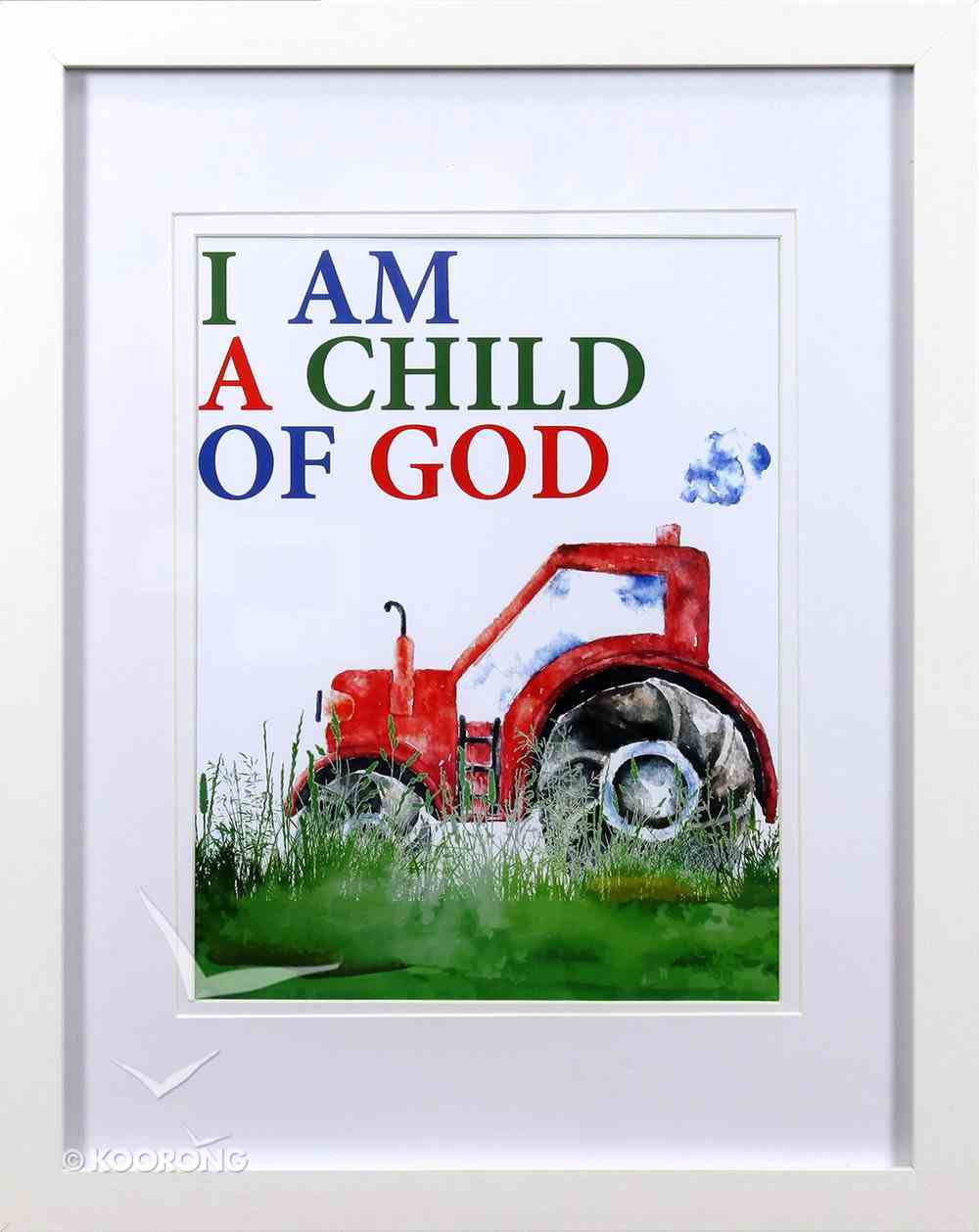 Framed Children's Print Watercolour Tractor I Am a Child of God Plaque