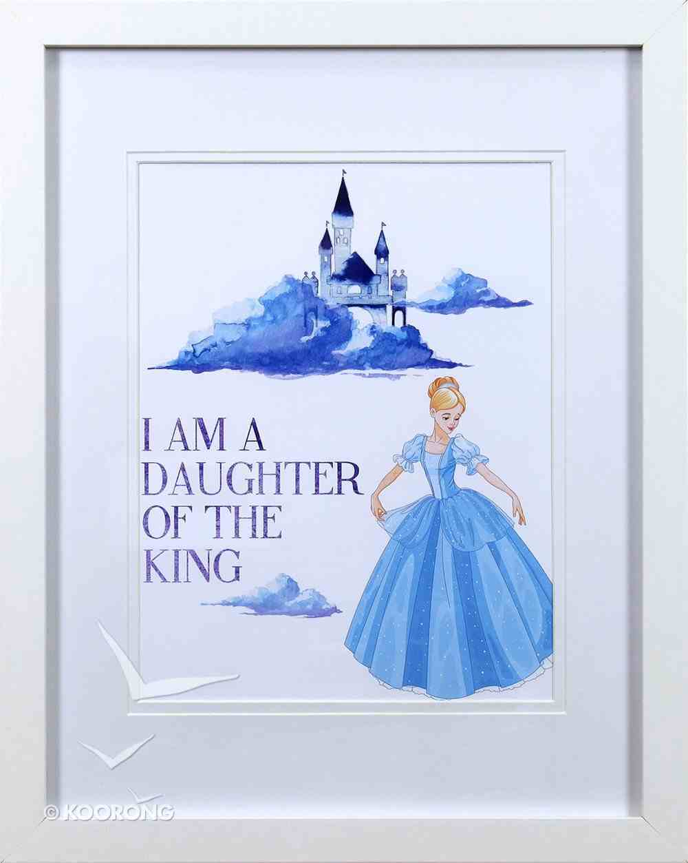 Framed Children's Print Watercolour Princess I Am a Daughter of the King Plaque