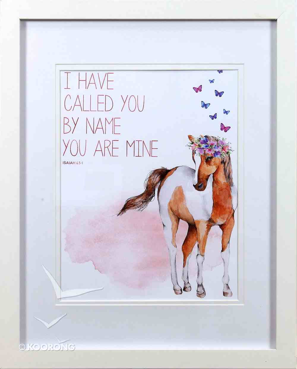 Framed Children's Print Watercolour Pony With Butterflies, I Have Called You By Name (Isaiah 43: 1) Plaque