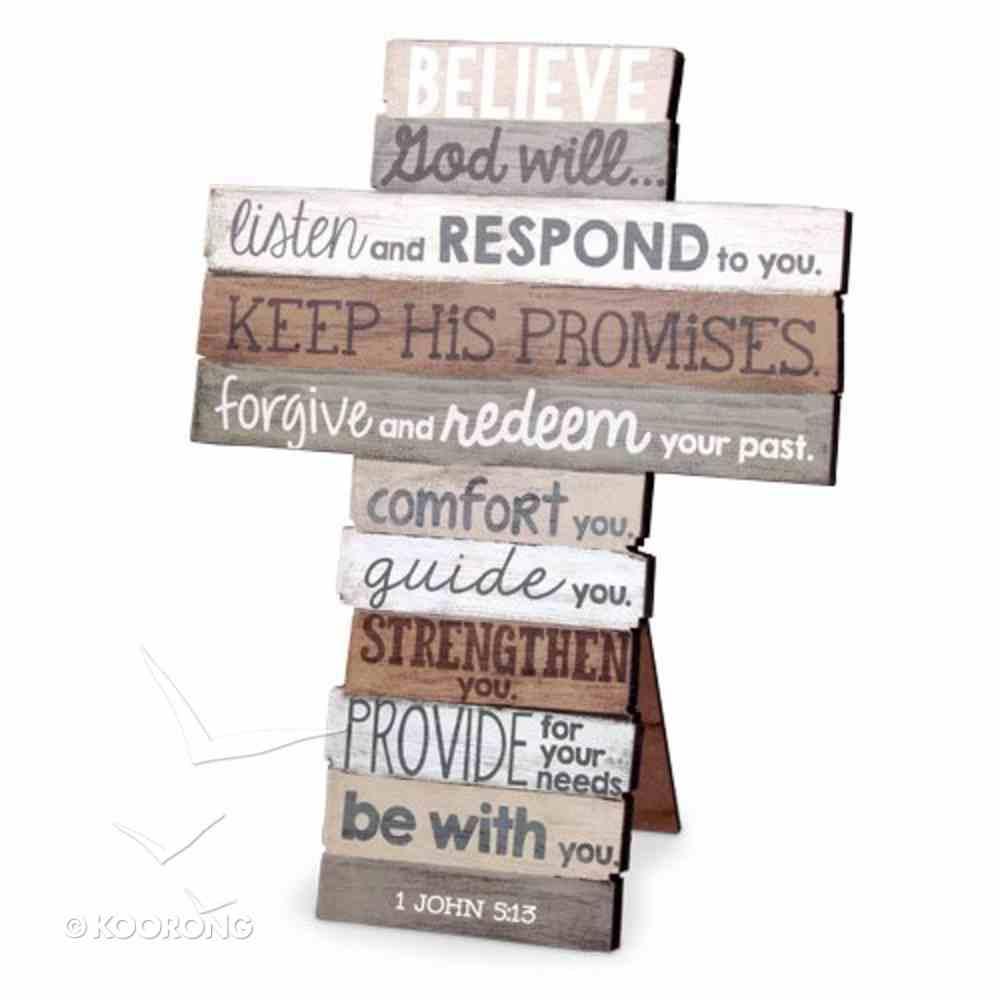 Stacked Wood Cross: Believe, Medium (1 John 5:13) Plaque