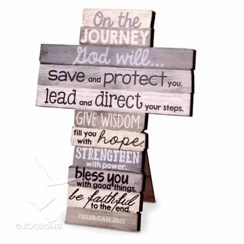 Stacked Wood Cross: Journey, Medium (Jer 29:11) Plaque