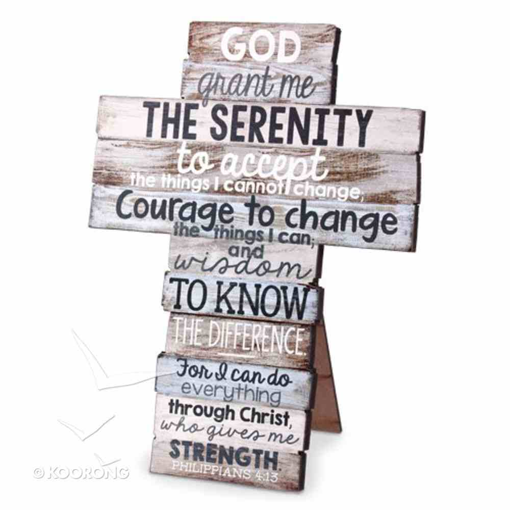 Stacked Wood Cross: Serenity, Medium (Phil 4:13) Plaque