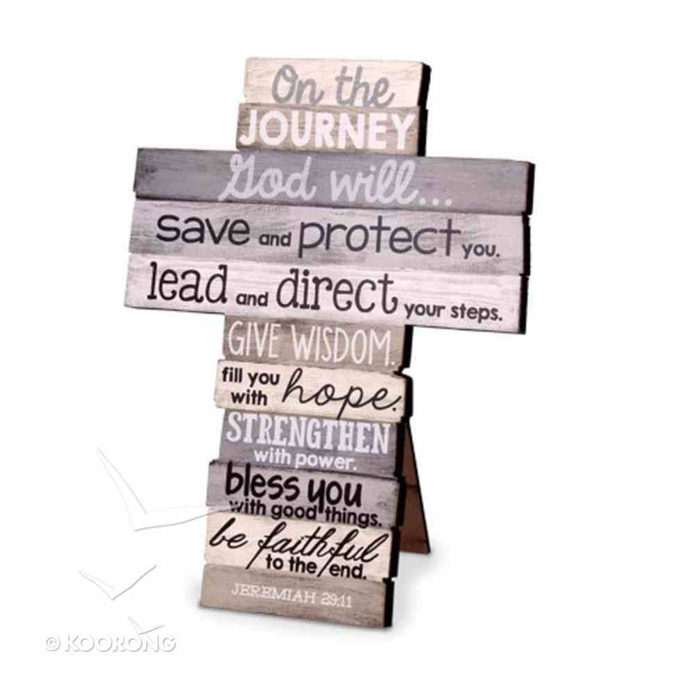 Stacked Wood Cross: Journey, Small, (Jer 29:11) Plaque