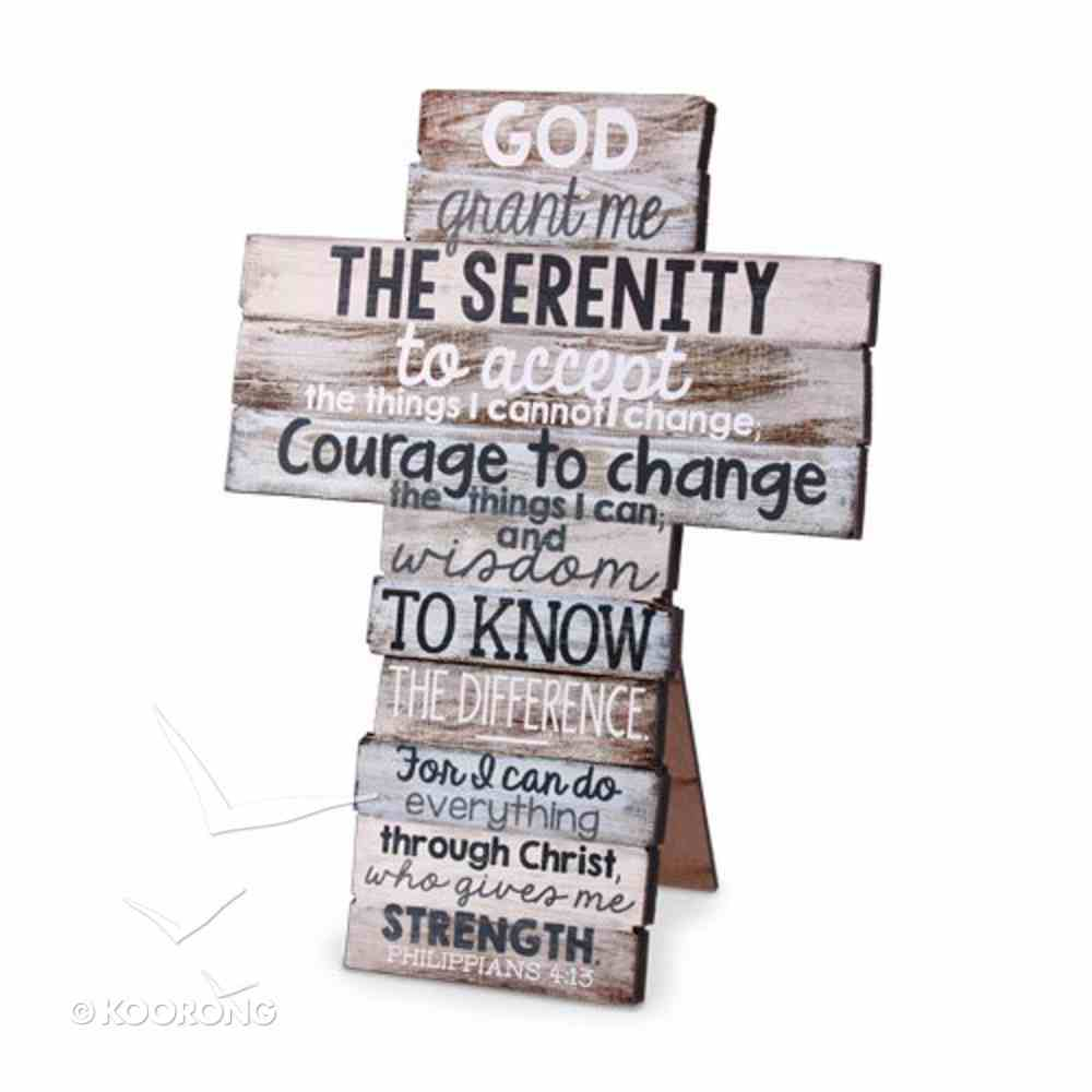 Stacked Wood Cross: Serenity, Small (Phil 4:13) Plaque