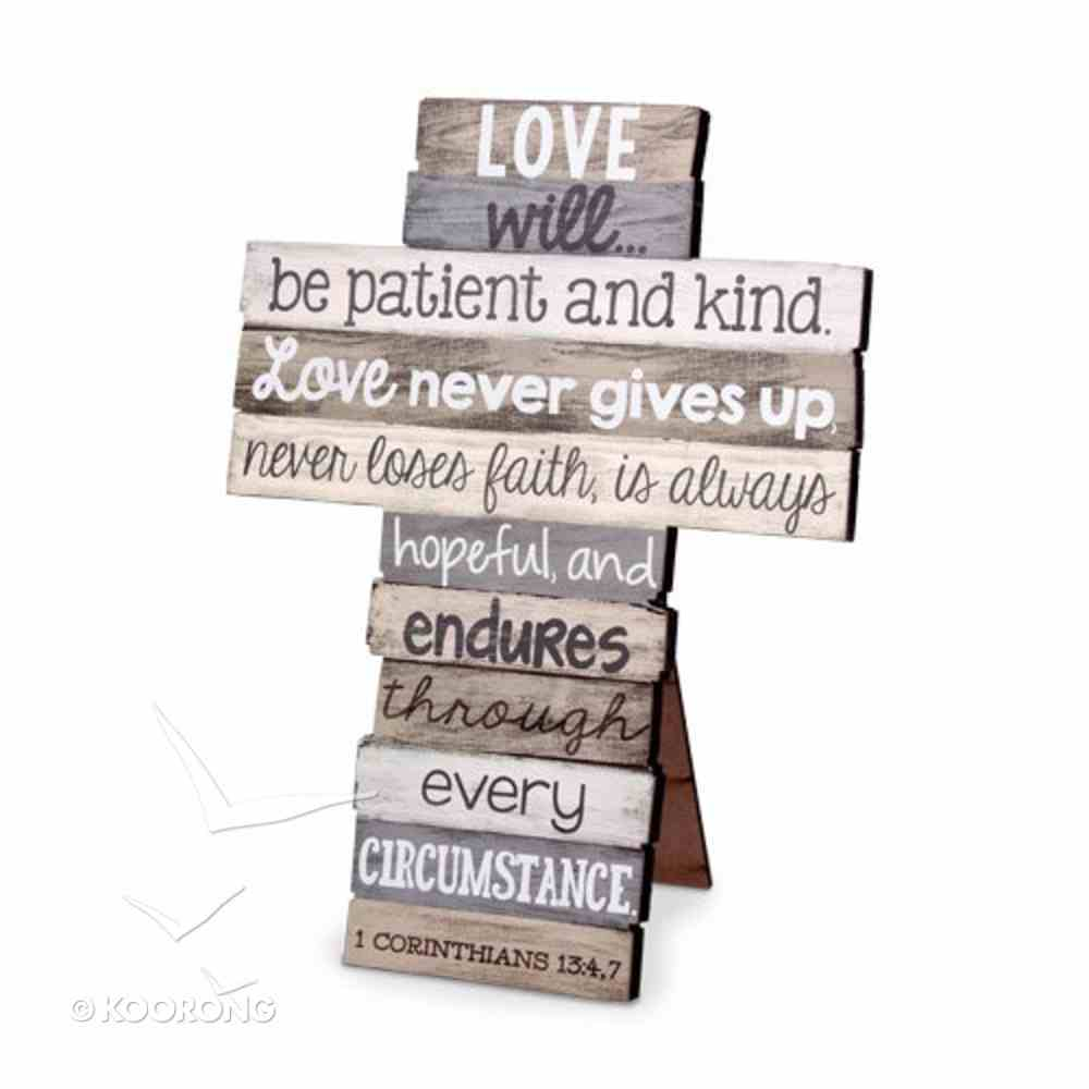 Stacked Wood Cross: Love, Small (1 Cor 13:4-7) Plaque