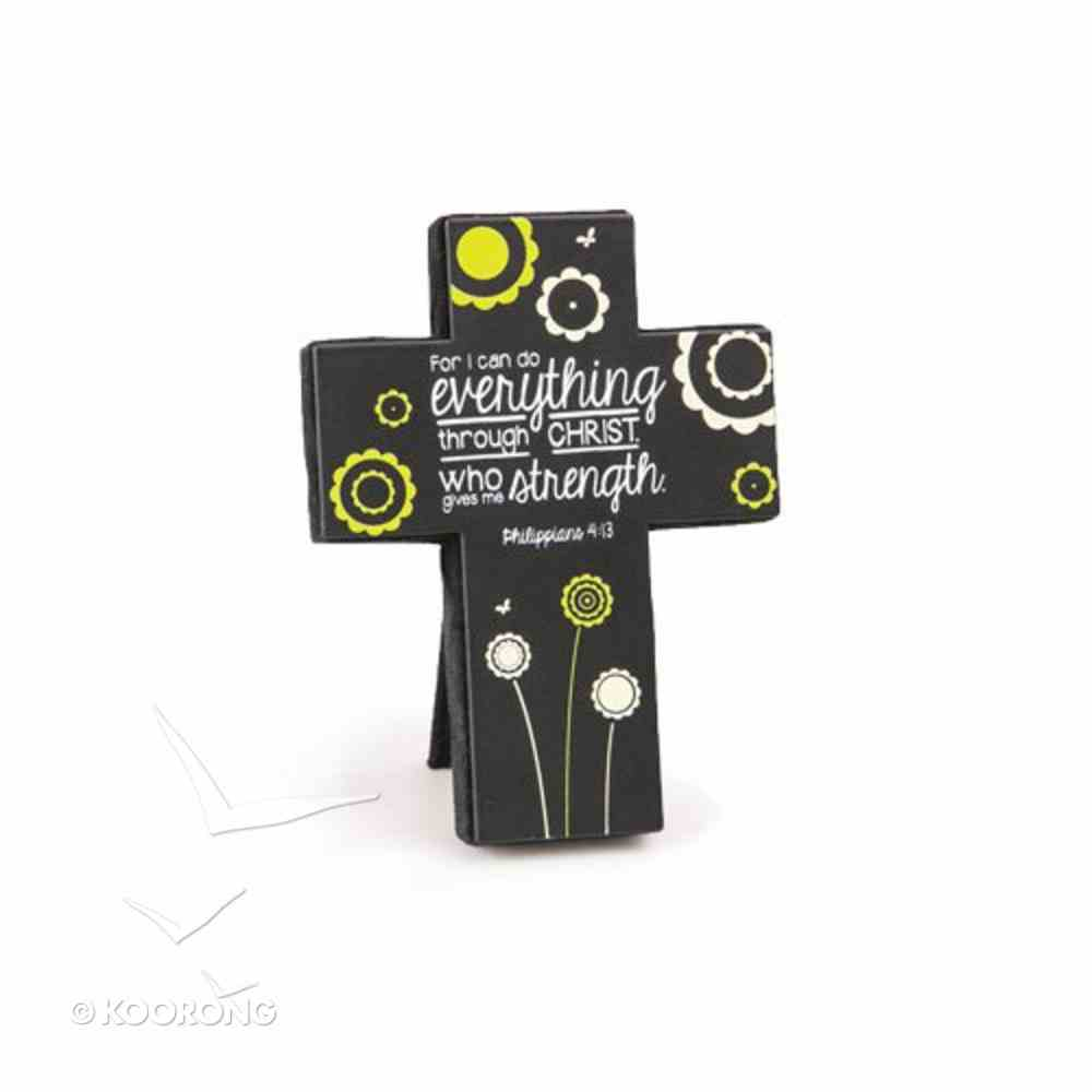 Joy Blossoms Small Cross: Strength Black/Yellow/White (Philippians 4:13) Homeware