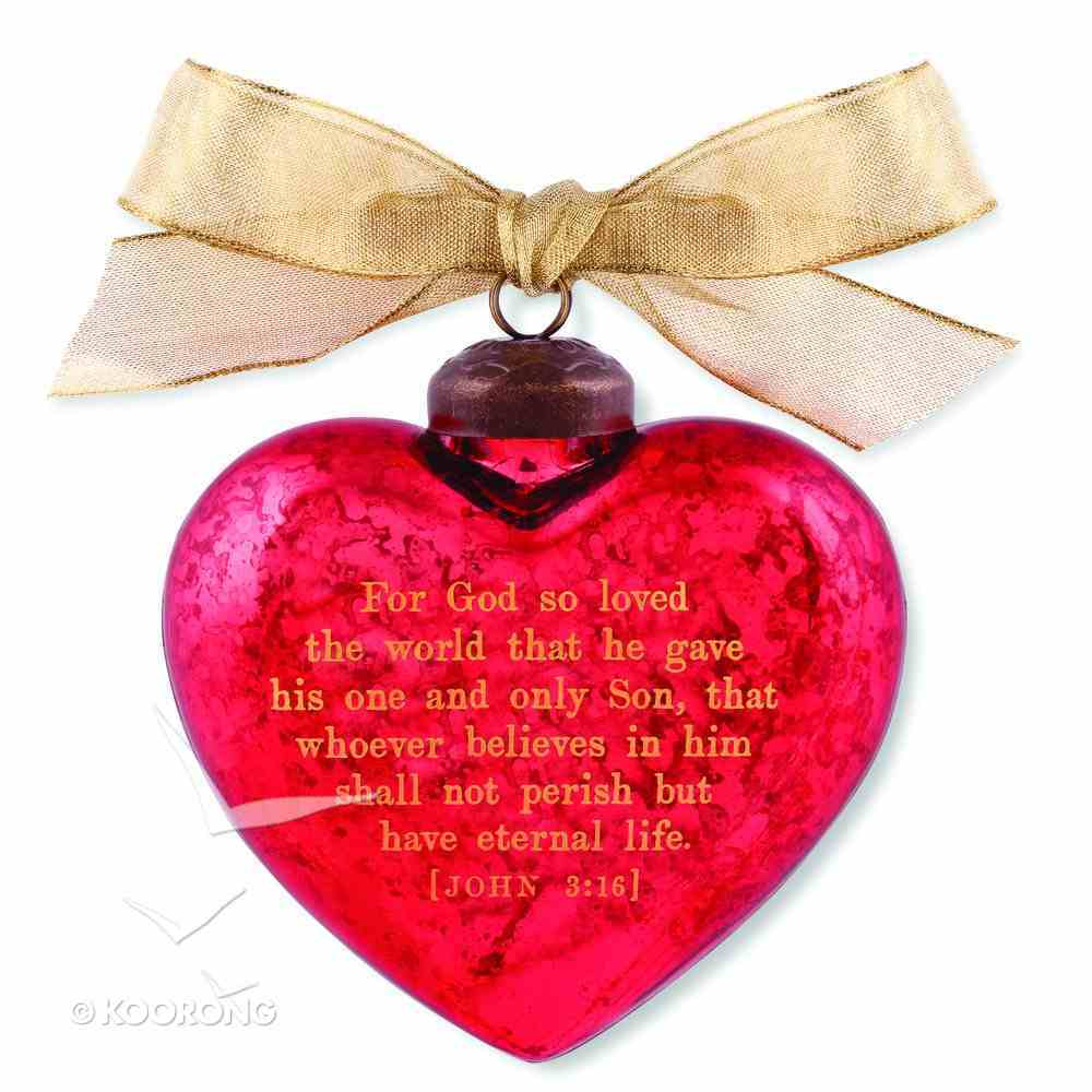 Christmas Glass Ornament Vintage Hearts: Jesus (John 3:16) Homeware