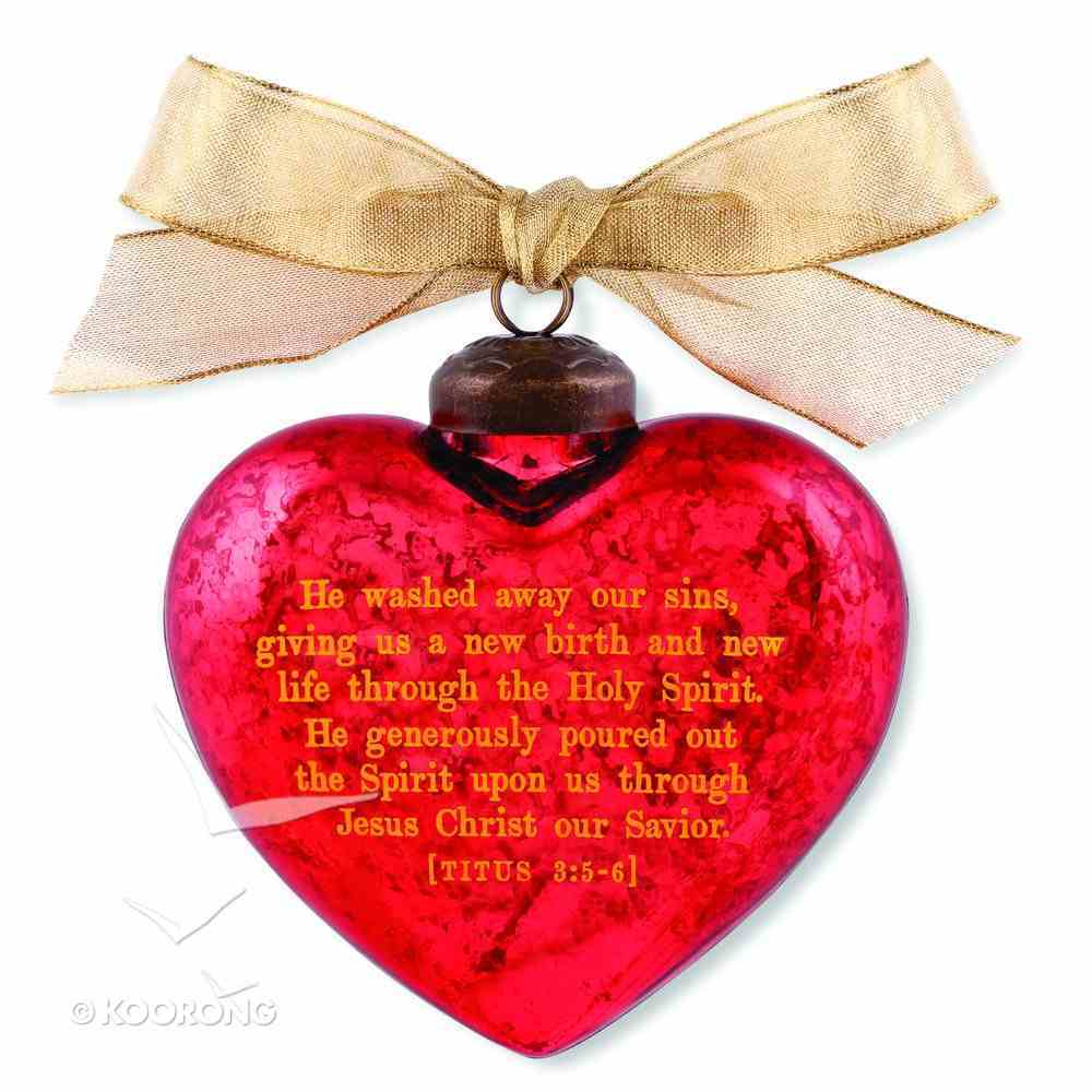 Christmas Glass Ornament Vintage Hearts: Savior (Titus 3:5-6) Homeware
