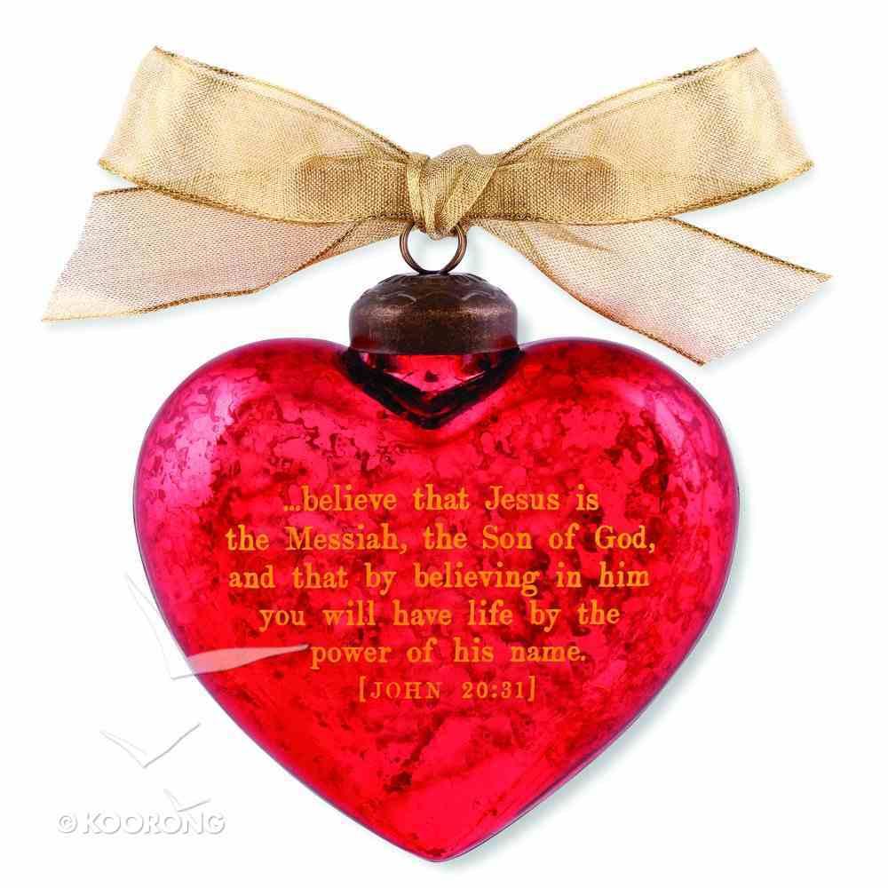 Christmas Glass Ornament Vintage Hearts: Messiah (John 20:31) Homeware