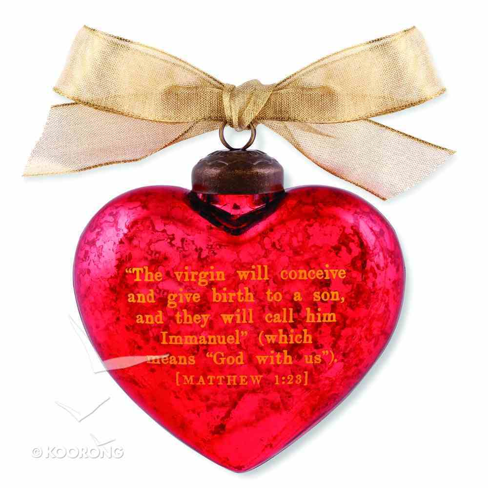 Christmas Glass Ornament Vintage Hearts: Immanuel (Matthew 1:23) Homeware