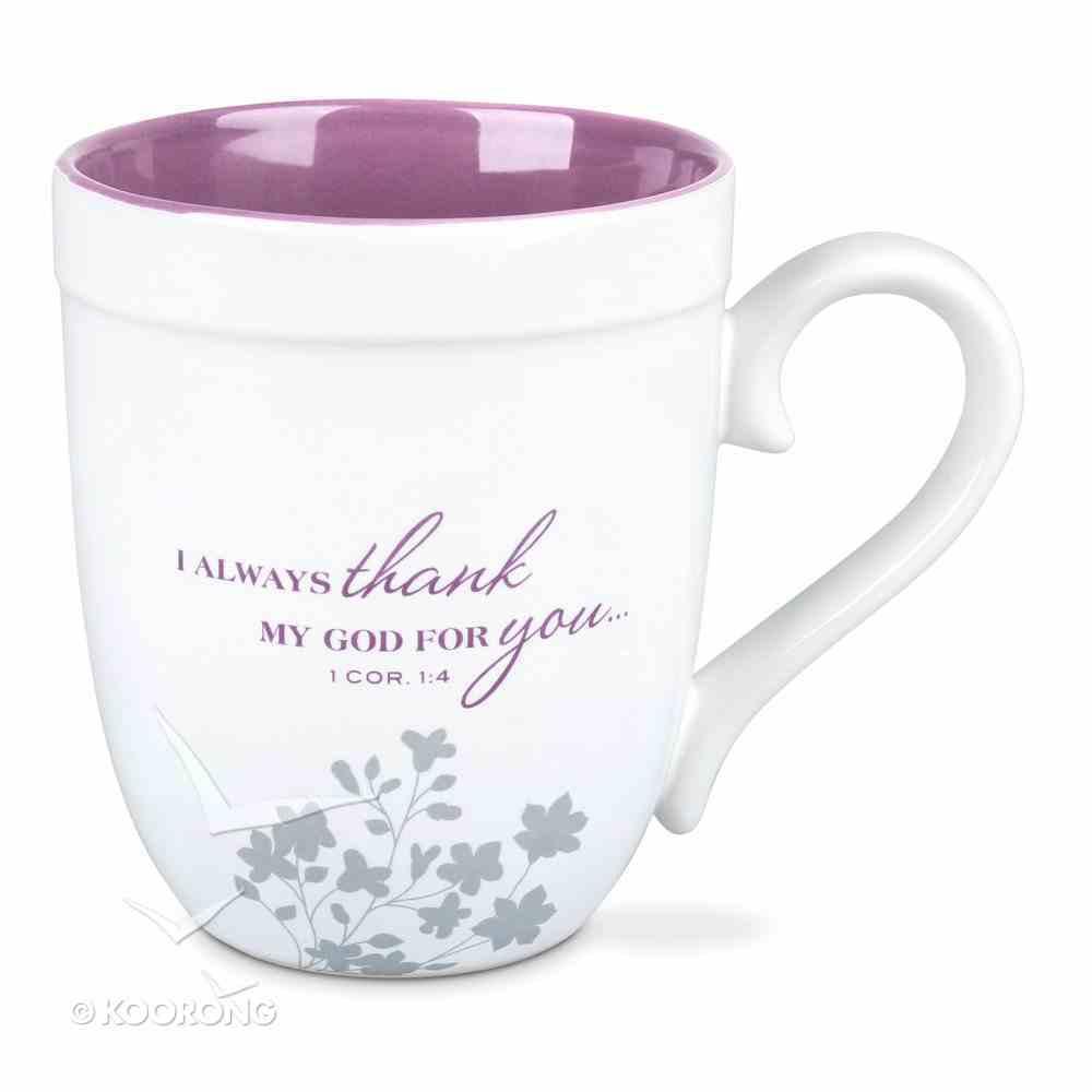 Ceramic Mug: Grandma, White/Purple (1 Cor 1:4) Homeware