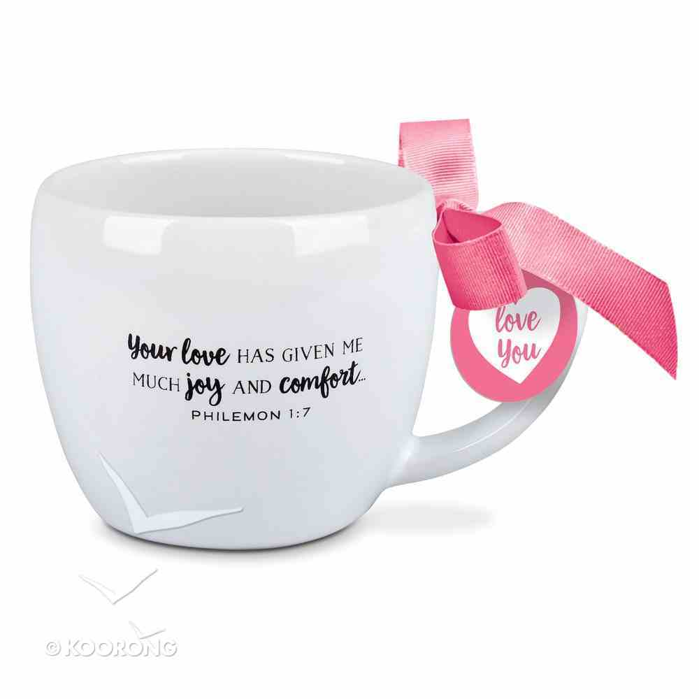 Ceramic Mug: I Love That You're My Grandma, White/Pink Ribbon (Philemon 1:7) Homeware