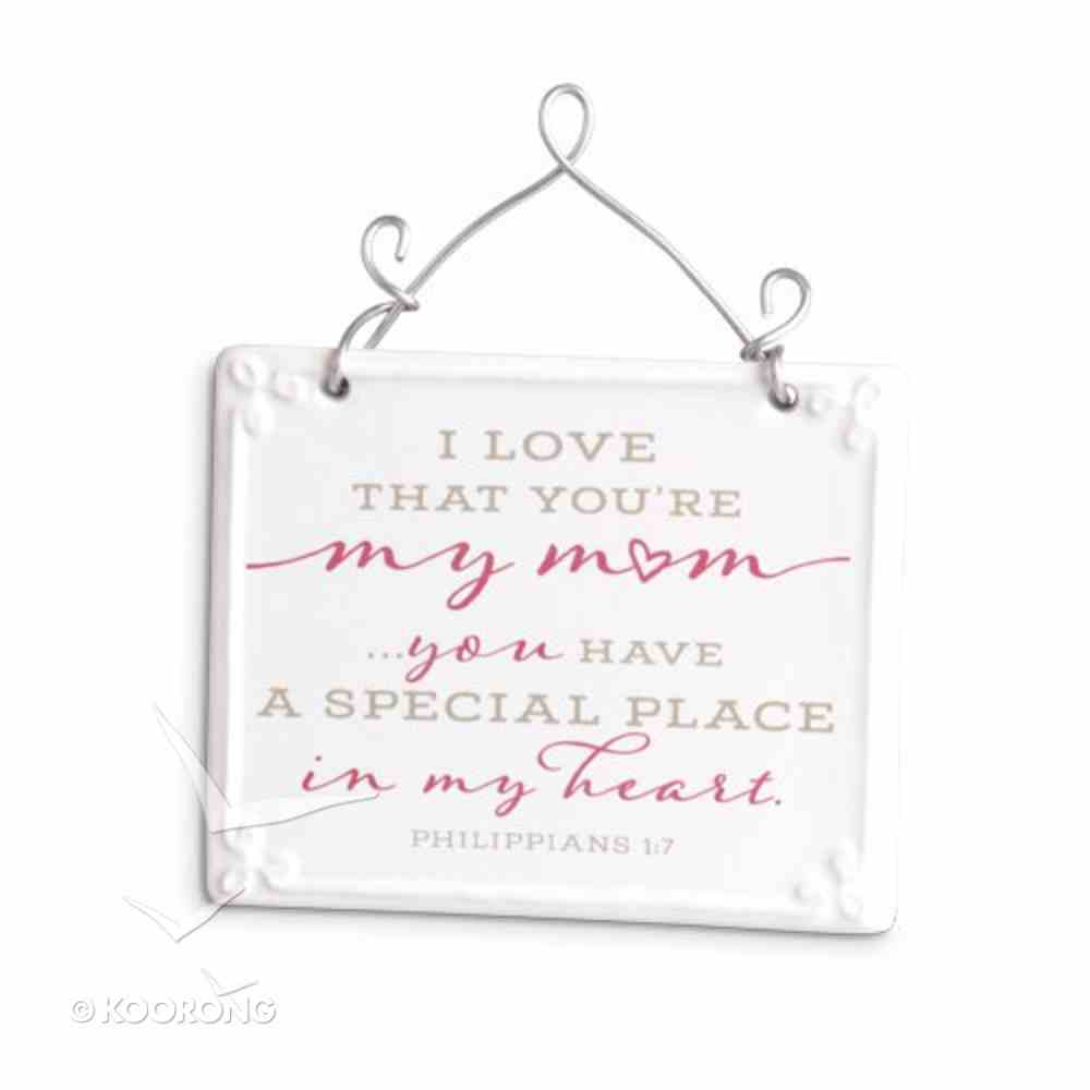 Plaque Ceramic/Wire: Mum, Pink/White Scripture Blessings (Phil 1:7) Plaque