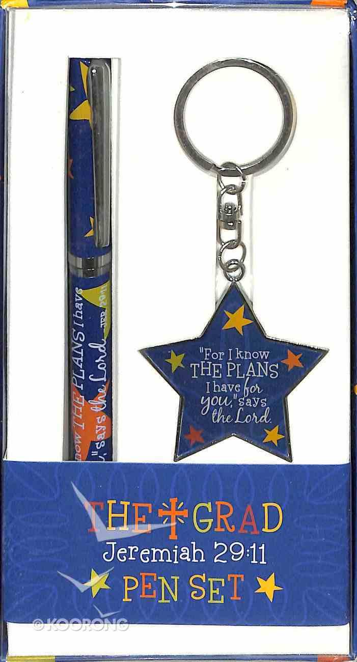 Pen & Keyring Set: Colorful Graduate Jeremiah 29:11 (Blue) Stationery