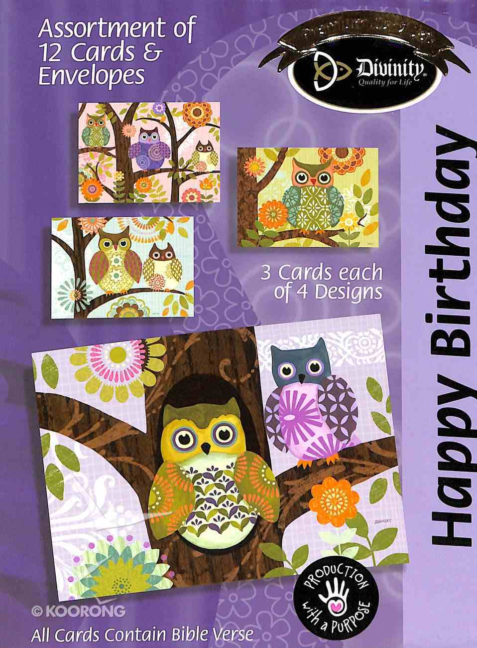 Boxed Cards Happy Birthday: Owls Box