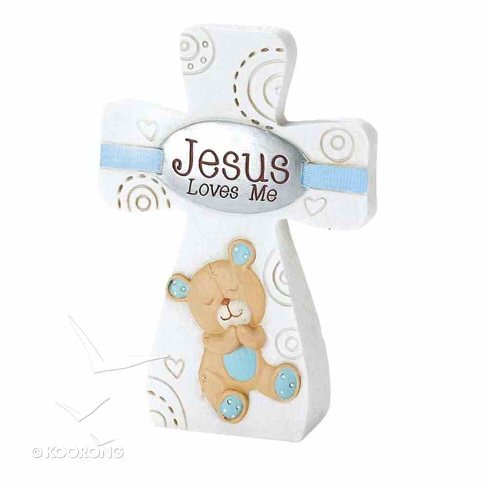Tabletop Cross: Jesus Loves Me - Boy (Blue/white) Plaque