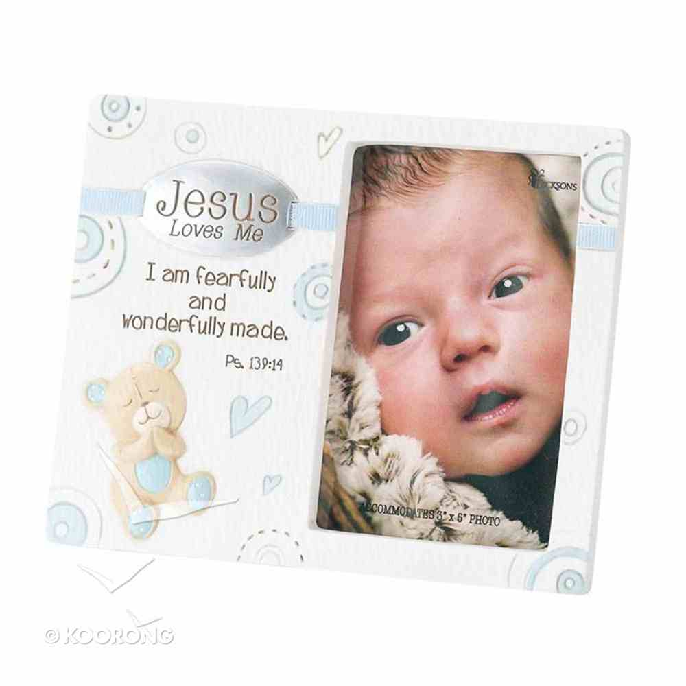 Ceramic Photo Frame: Jesus Loves Me - Boy (Psalm 139:14) General Gift