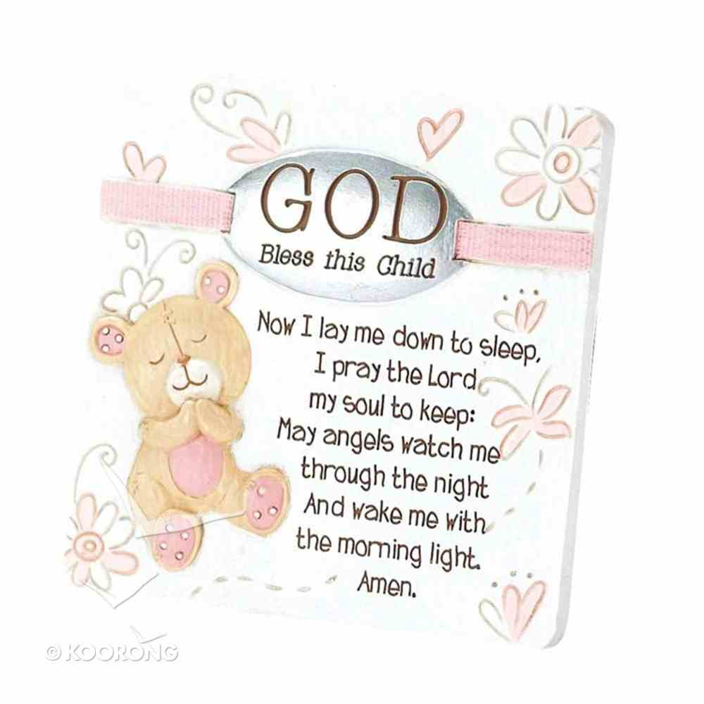 Resin Tabletop Plaque: God Bless Your Child - Girl (Pink/white) Homeware