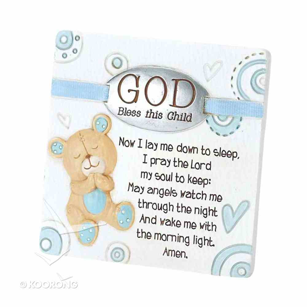 Resin Tabletop Plaque: God Bless This Child - Boy (Blue/white) Homeware