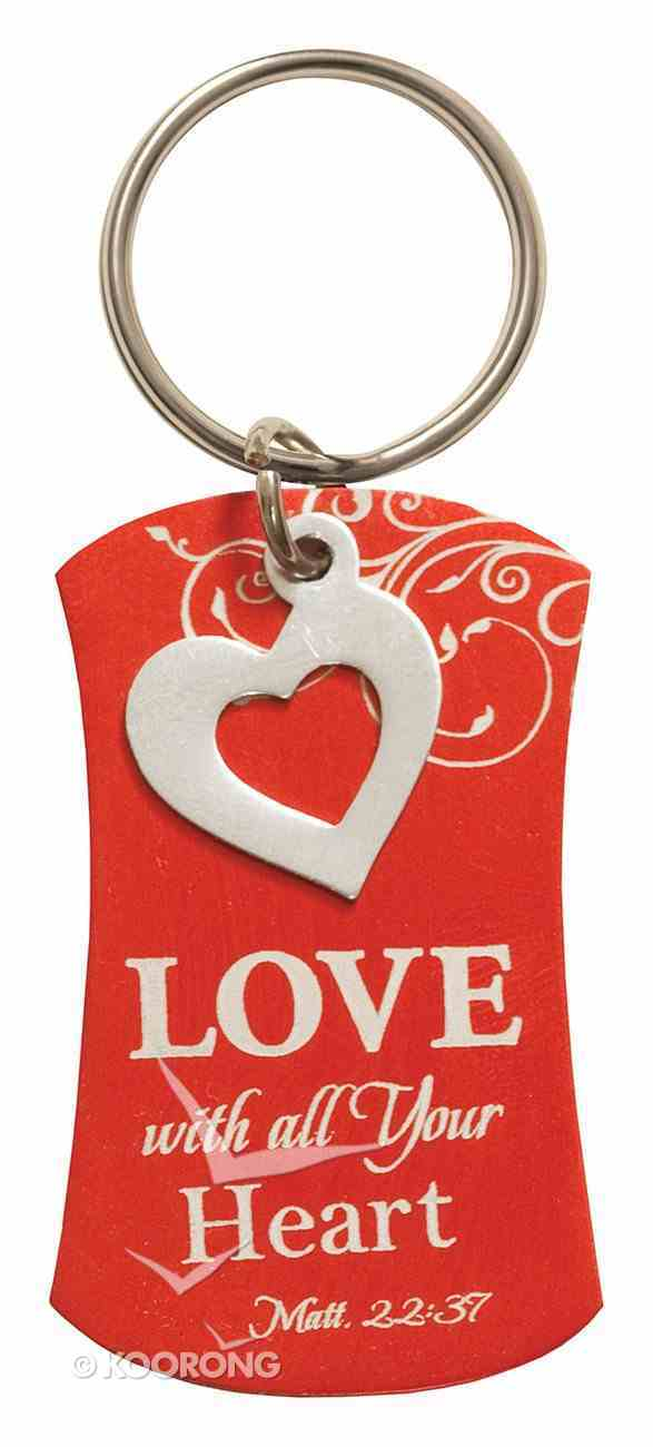 Charm Keyring: Love Will All Your Heart (Matt 22:37) (Orange With Silver Heart Charm) Jewellery