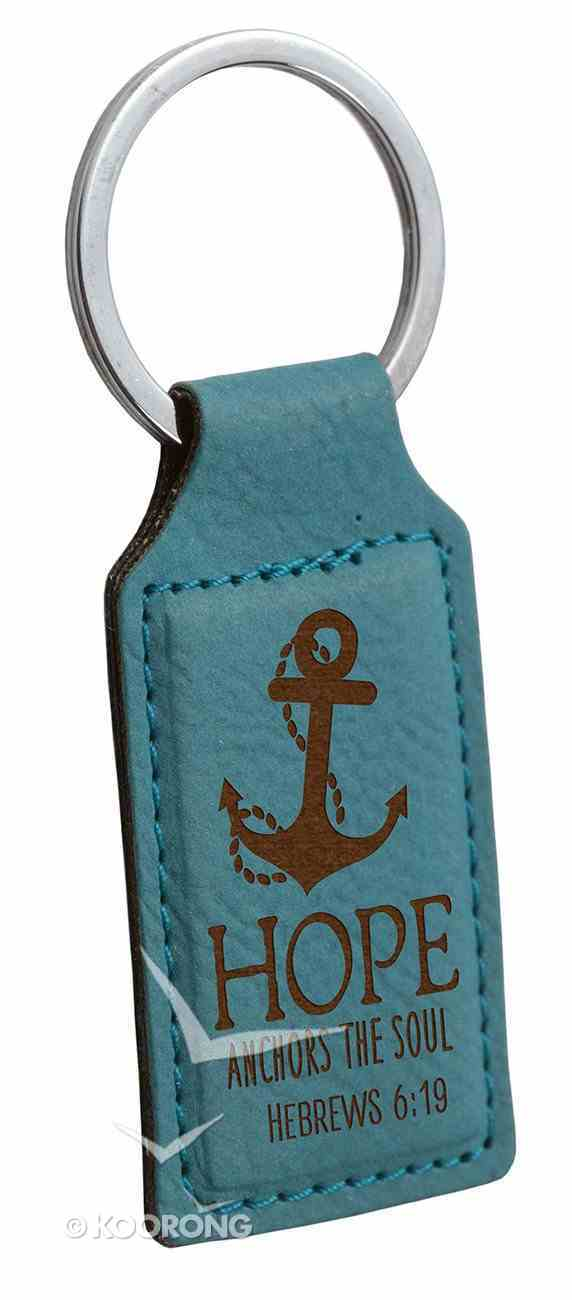 Faux Leather Keyring: Hope Anchors the Soul (Hebrews 6:19) (Teal) Jewellery