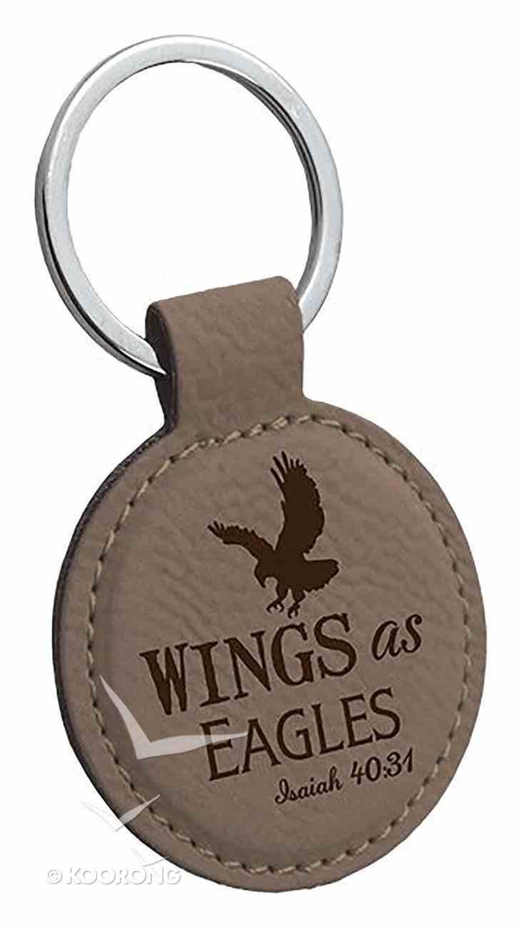 Faux Leather Keyring: Wings as Eagles (Isaiah 40:31) (Dark Grey) Jewellery