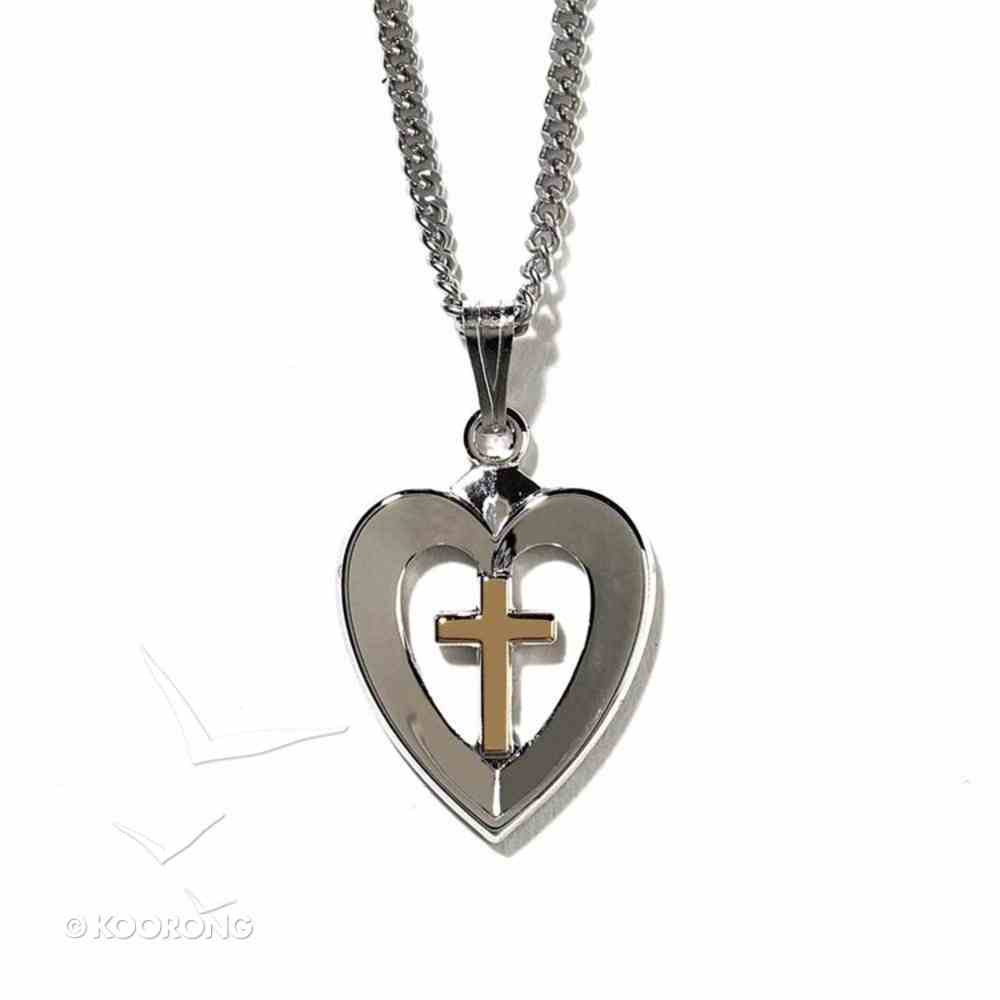 Necklace: Silver Plated Heart With Gold Plated Cross on 45Cm Silver Plated Chain Jewellery
